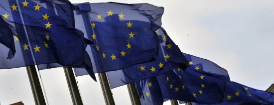 European flags flutter in the wind on July 3, 2012 in front of the European Commission in Brussels. AFP PHOTO / GEORGES GOBET (Photo credit should read GEORGES GOBET/AFP/GettyImages)