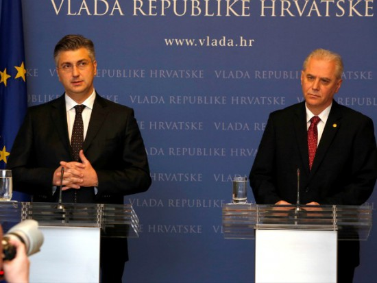 Andrej Plenkovic and Dinko Cvitan on an urgent press conference considering the scandal. Photo: Anadolu Agency/Stipe Majic