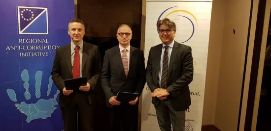 Mr. Davor Dubravica, Chairperson of the RAI Steering Group (left), Mr. Goran Svilanovic Secretary General of RCC and Mr. Vladan Joksimovic, Head of RAI Secretariat